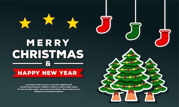 Modelo de banner de fundo de feliz natal e feliz ano novo com árvore de natal e meia