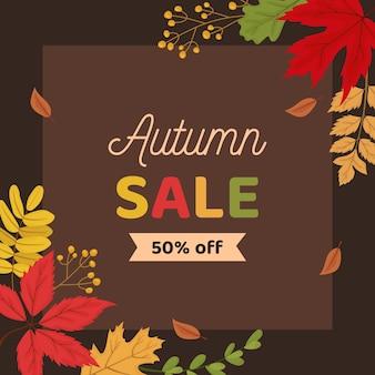 Modelo de banner de fundo de venda de outono