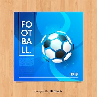 Modelo de banner de futebol liso azul