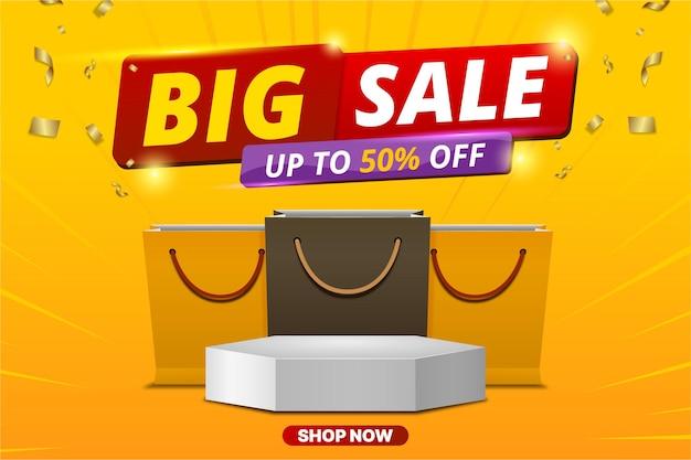 Modelo de banner de grande venda com produto de show de pódio