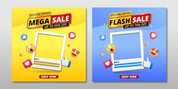 Modelo de banner de grande venda com quadro de produto