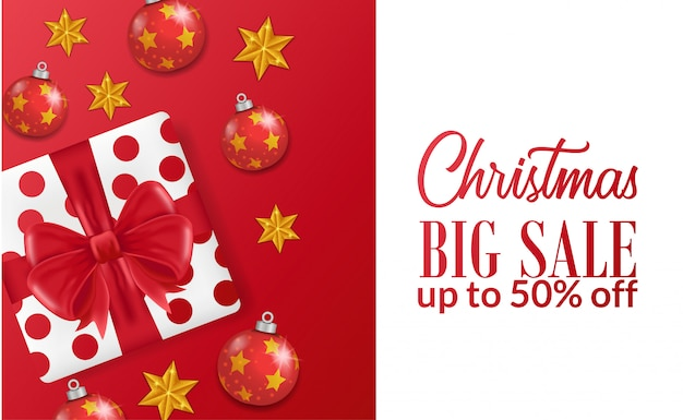 Modelo de banner de grande venda de natal com caixa de presente