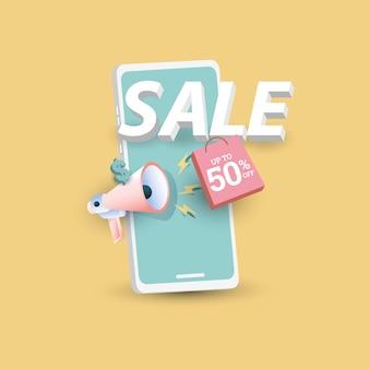 Modelo de banner de grande venda promoção de pôster oferta especial de até 50 de desconto