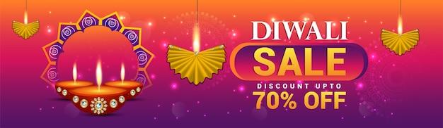 Modelo de banner de grande venda shubh diwali
