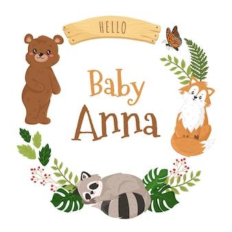 Modelo de banner de grinalda de animais da floresta para bebê chuveiro capa livro convite menino ou menina