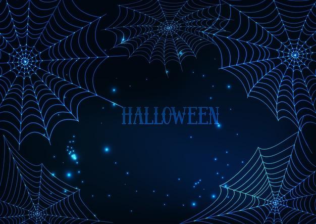 Modelo de banner de halloween com teias de aranha brilhantes
