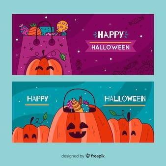 Modelo de banner de halloween de mão desenhada