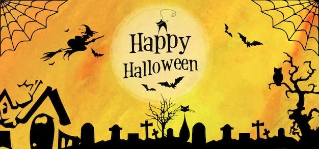 Modelo de banner de halloween em aquarela
