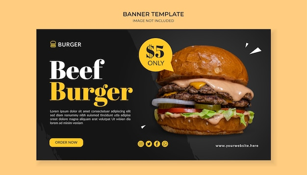 Modelo de banner de hambúrguer de carne para restaurante de fast food