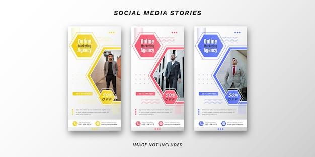 Modelo de banner de histórias de mídia social de marketing digital