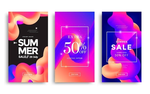 Modelo de banner de histórias na moda. design de venda de verão mídia social