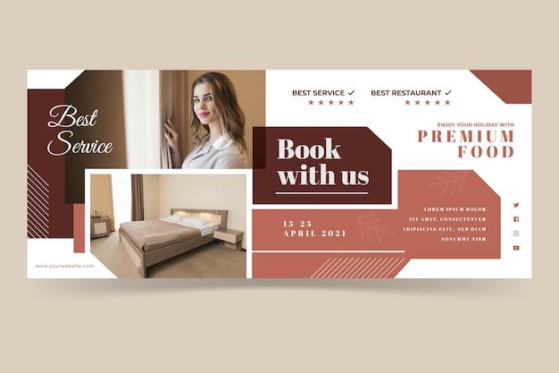 Modelo de banner de hotel de design plano com foto