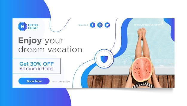 Modelo de banner de hotel em gradiente com foto
