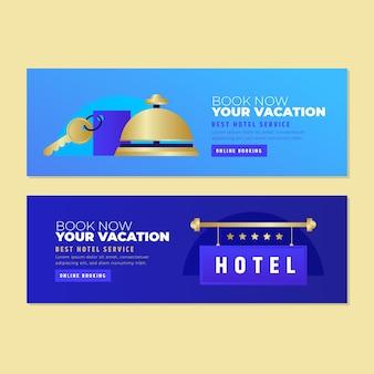 Modelo de banner de hotel gradiente criativo com foto