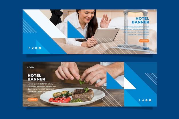 Modelo de banner de hotel plano com foto