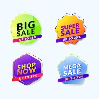 Modelo de banner de ícone de promoção de venda de etiqueta