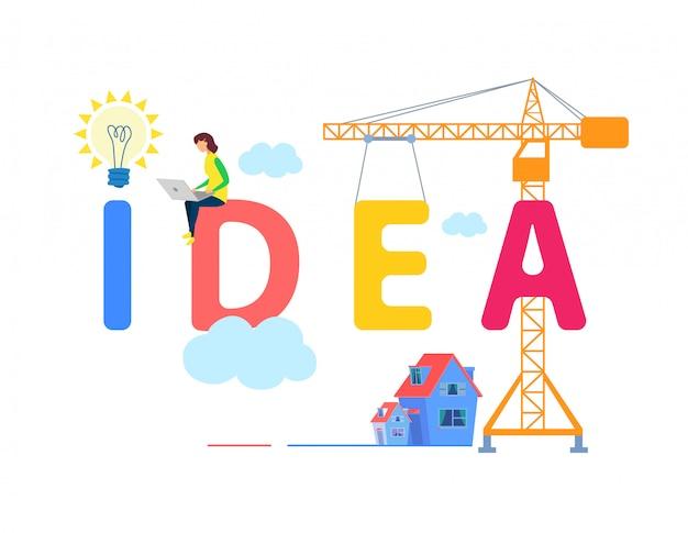 Modelo de banner de idéia com tipografia multicolor