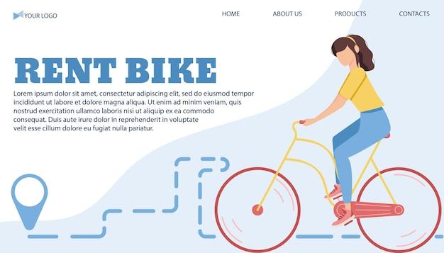 Modelo de banner de ilustração vetorial para alugar bicicleta na cidade em um estilo simples