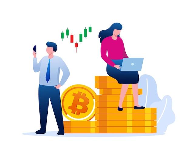 Modelo de banner de ilustração vetorial plana de bitcoin de negociação