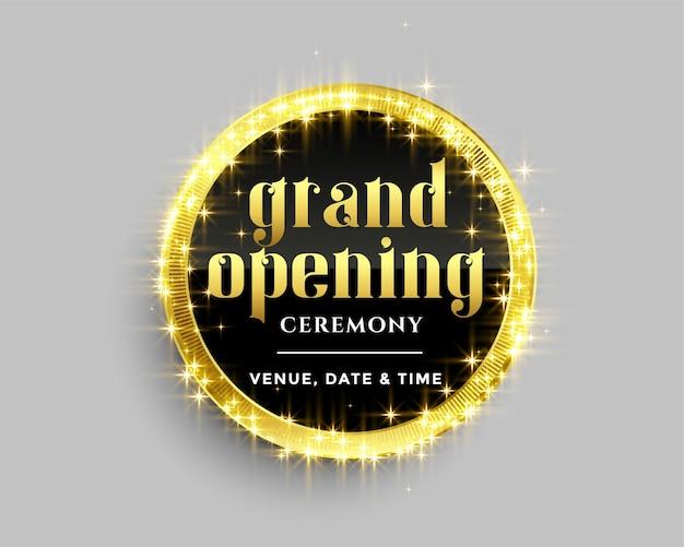 Modelo de banner de inauguração com design de brilhos dourados