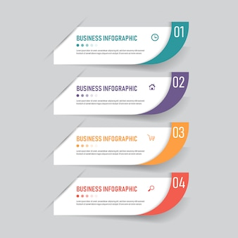Modelo de banner de infográficos com quatro etapas