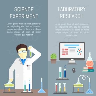 Modelo de banner de infográficos de química Vetor Premium