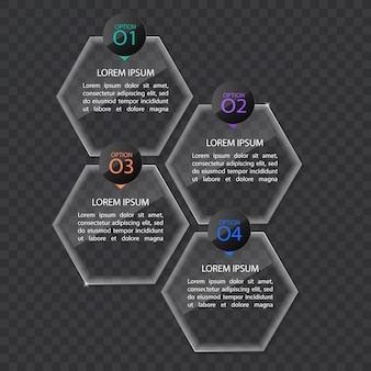 Modelo de banner de infográficos em estilo vidro ou brilhante, conceito de negócio com 4 opções, formato vetorial