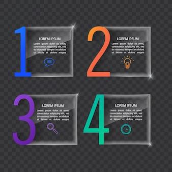 Modelo de banner de infográficos em vidro ou estilo brilhante conceito de negócio com 4 opções