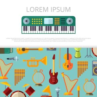 Modelo de banner de instrumentos musicais planas
