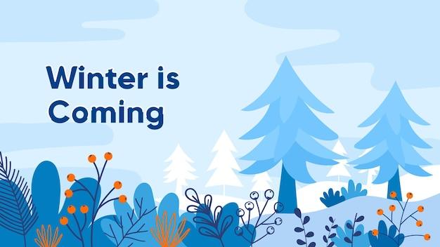Modelo de banner de inverno de design plano banner editável para anúncios de site e internet