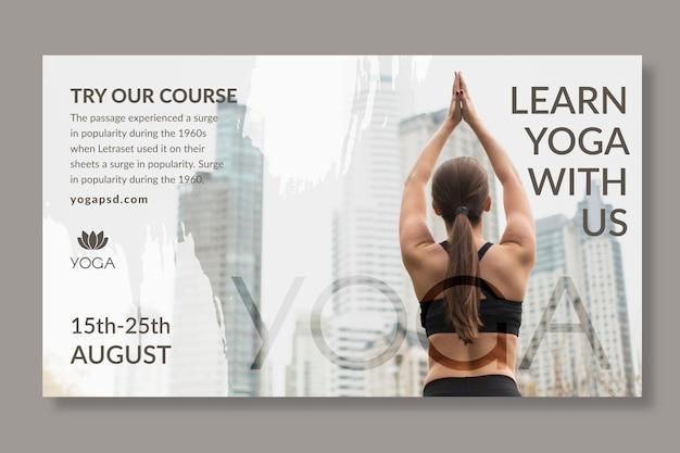 Modelo de banner de ioga com foto