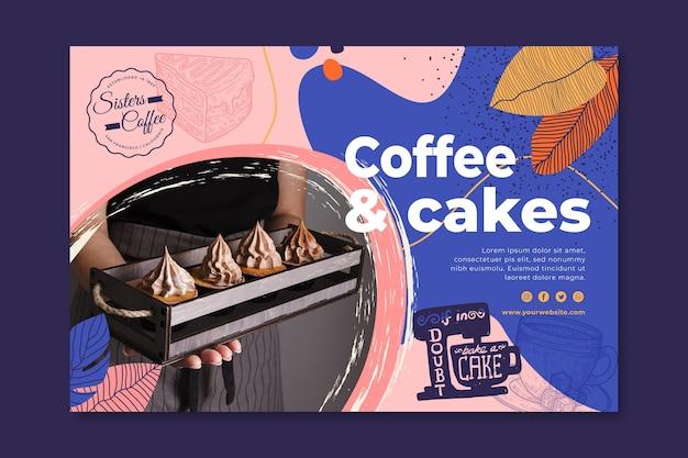 Modelo de banner de loja de café e bolos