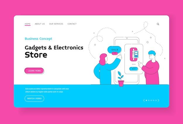 Modelo de banner de loja de gadgets e eletrônicos. homem e mulher usando smartphone para escolher e comprar relógio inteligente moderno durante a venda no site. ilustração de estilo simples, design de arte de linha fina