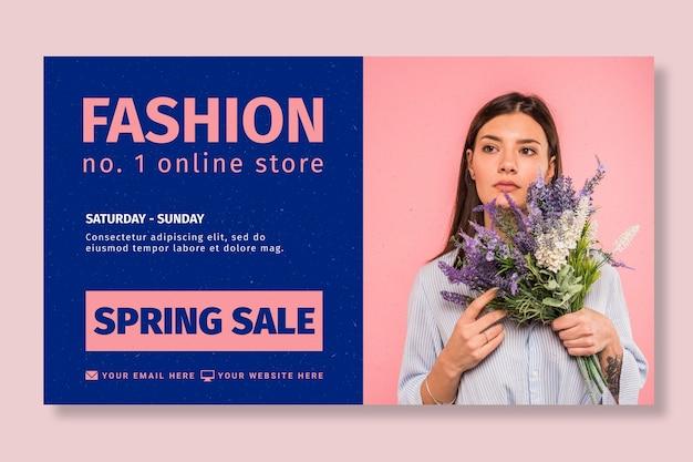 Modelo de banner de loja online de moda