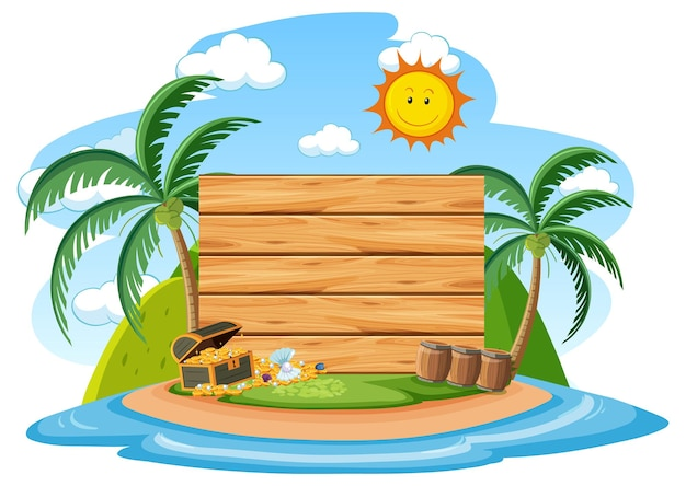 Modelo de banner de madeira vazio com elemento de praia de verão em fundo branco