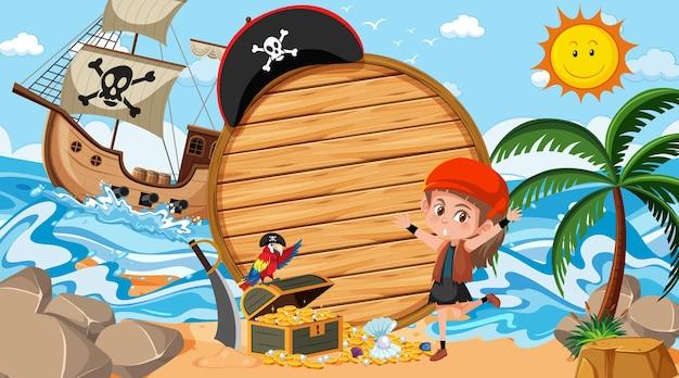 Modelo de banner de madeira vazio com garota pirata na cena diurna da praia