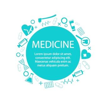Modelo de banner de medicina com ilustração em vetor de símbolo médica
