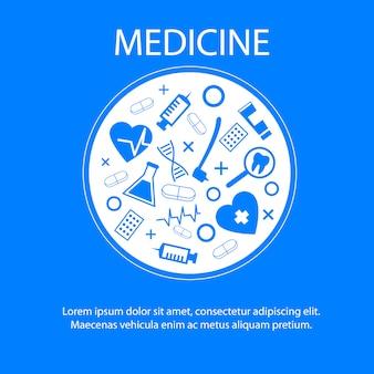 Modelo de banner de medicina com símbolo de ciência médica