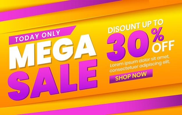 Modelo de banner de mega mega venda moderna