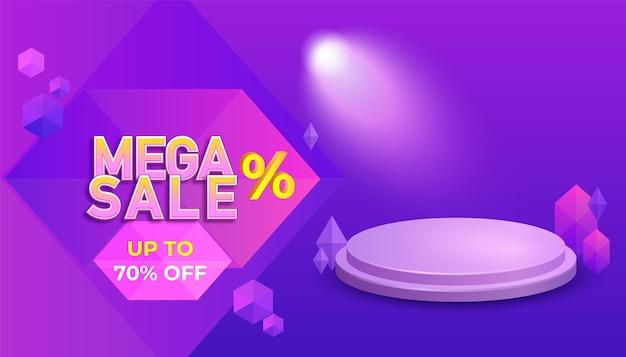 Modelo de banner de mega venda para oferta especial com pódio
