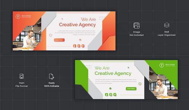 Modelo de banner de mídia social criativa com capa do facebook