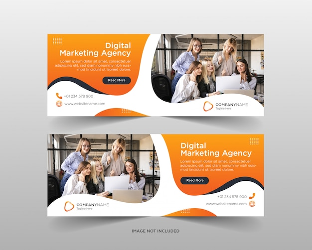 Modelo de banner de mídia social da agência de marketing digital