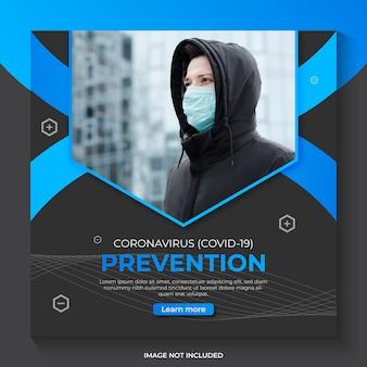 Modelo de banner de mídia social de aviso de prevenção de coronavírus covid-19