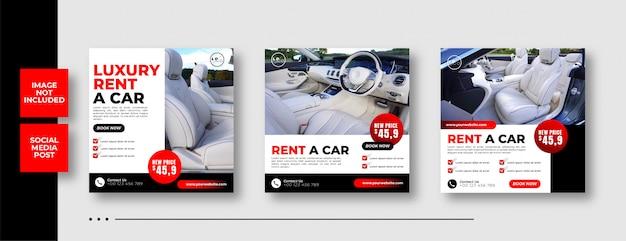 Modelo de banner de mídia social de carro de aluguel