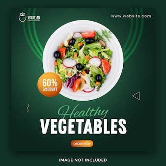 Modelo de banner de mídia social de comida saudável