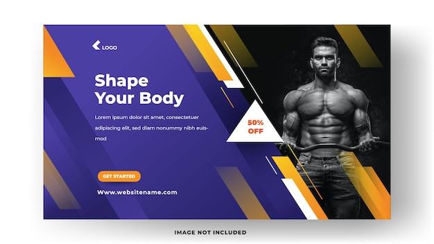 Modelo de banner de mídia social de fitness de ginásio. dê forma ao seu corpo com uma composição moderna