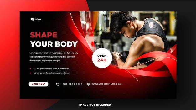 Modelo de banner de mídia social de fitness de ginásio.