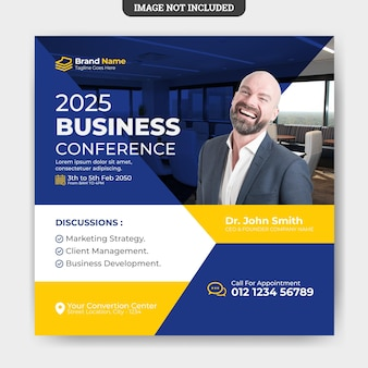 Modelo de banner de mídia social de folheto de conferência de negócios