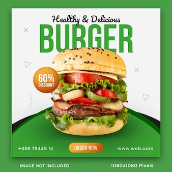 Modelo de banner de mídia social de hambúrguer comidas