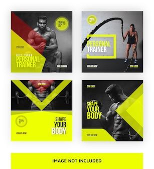 Modelo de banner de mídia social de instrutor de ginásio